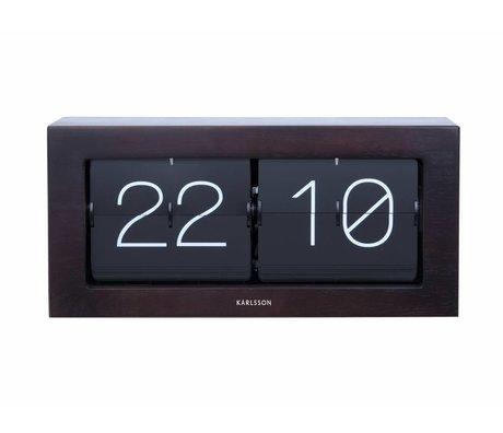 Karlsson Flip reloj en caja oscura 17,5x37cm acero de madera de color marrón