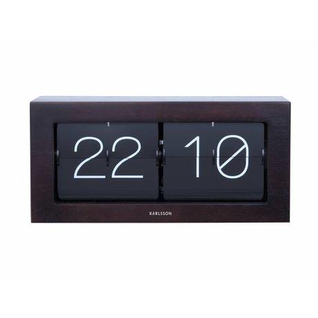 Karlsson Flip-Uhr Boxed dunkelbraun Holz Stahl 17,5x37cm