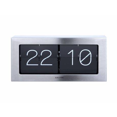 Karlsson Flip Clock Boxed Argent Acier 17,5x37cm