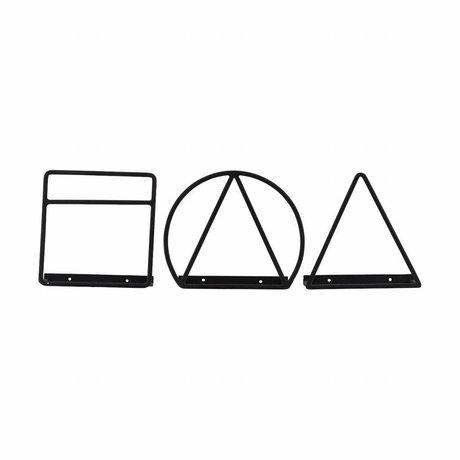 Housedoctor Magazine rack Loge sort jern 20cm Sæt af 3