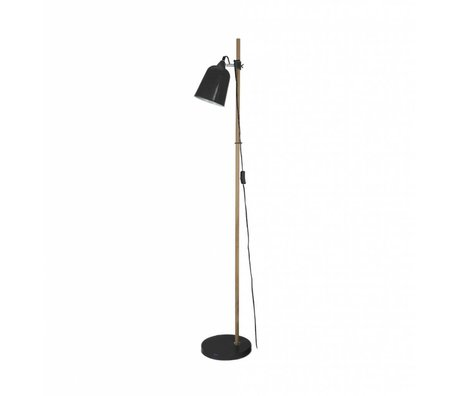 Leitmotiv Floor lamp wood-like black metal 15x14x149cm
