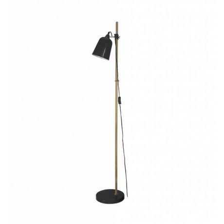 Leitmotiv Lámpara de pie de madera-como 15x14x149cm de metal negro