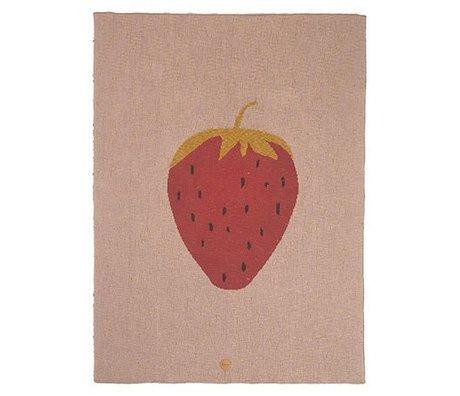 Ferm Living Loft Strawberry pink bomuld 80x100cm