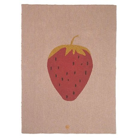 Ferm Living Blanket Strawberry pink cotton 80x100cm