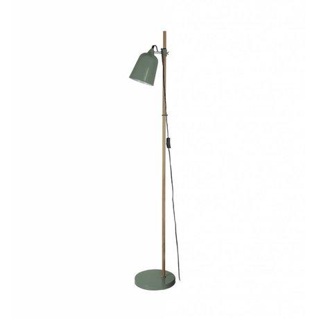 Leitmotiv Lámpara de pie de madera-como 15x14x149cm metal verde