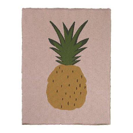 Ferm Living Decke Pineapple rosa braun Baumwolle 80x100cm