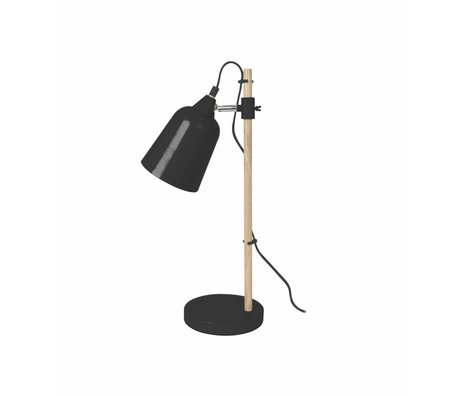 Leitmotiv Bordlampe Wood-lignende black metal Ø12x14x48,5cm
