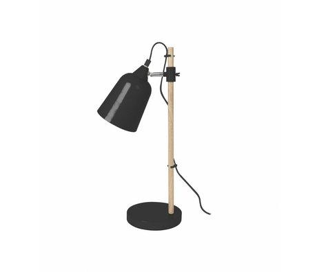 Leitmotiv Lampe de table en bois comme Ø12x14x48,5cm en métal noir