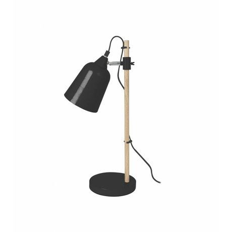 Leitmotiv Table Lamp Wood-Like black metal Ø12x14x48,5cm