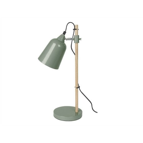Leitmotiv Table lamp wood-like green metal 12x14x48,5cm