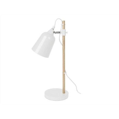 Leitmotiv Tischlampe Wood-Like weiß Metall 12x14x48,5cm