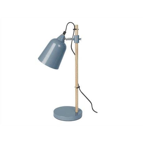 Leitmotiv Lámpara de mesa de madera como de metal mezclilla azul 12x14x48,5cm