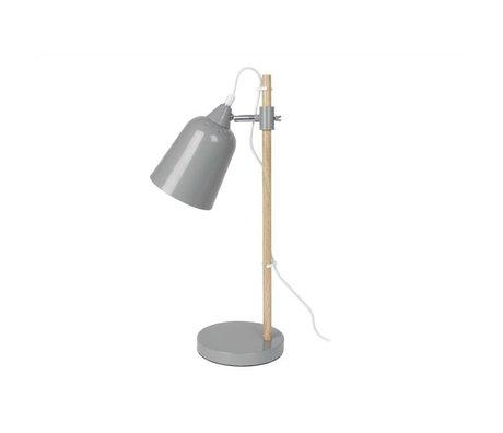 Leitmotiv Bordlampe Wood-lignende grå metal 12x14x48,5cm