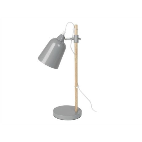Leitmotiv Table lamp wood-like gray metal 12x14x48,5cm