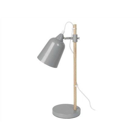 Leitmotiv Tischlampe Wood-Like grau Metall 12x14x48,5cm