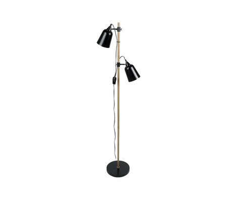 Leitmotiv Floor lamp Wood-Like 2 black metal Ø15x14x149cm