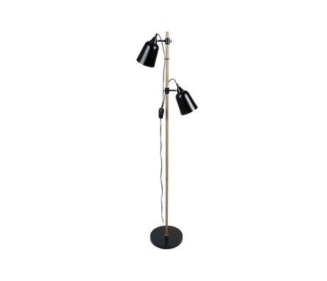 Leitmotiv Lámpara de pie de madera-Like 2 Ø15x14x149cm de metal negro