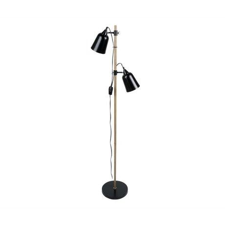 Leitmotiv Standerlampe trælignende 2 black metal Ø15x14x149cm