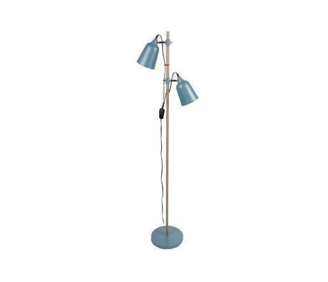 Leitmotiv Floor lamp Wood-Like 2 blue metal 15x14x149cm