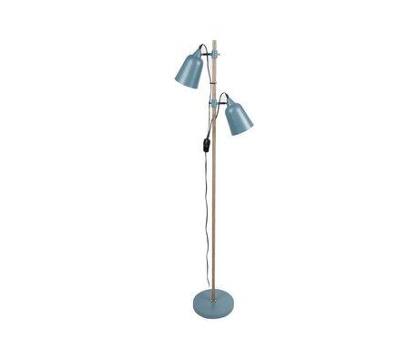 Leitmotiv Lampada da terra in legno-Like 2 15x14x149cm metallo blu