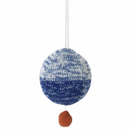 Ferm Living palla mobile maglia di cotone blu con musica Ø10cm