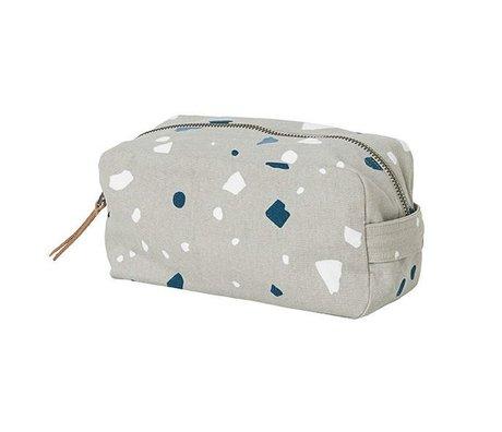 Ferm Living bolsas de aseo terrazo gris de algodón 20x10x11cm