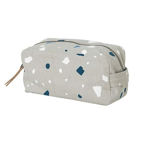 Ferm Living Toilet bag Terrazzo gray cotton 20x10x11cm