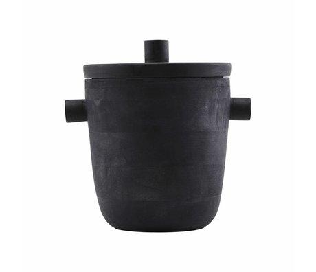 Housedoctor raffreddamento di vino secchiello per il ghiaccio in legno di mango nero un ~ 20x22cm