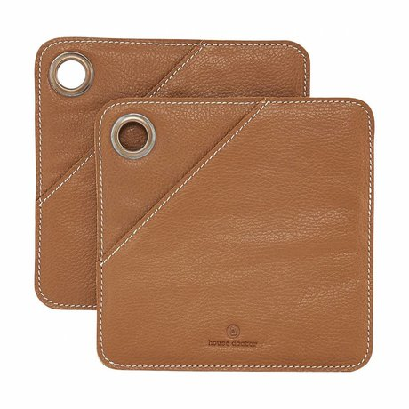 Housedoctor Potholders 2 pieces brown leather 20.5x20.5cm
