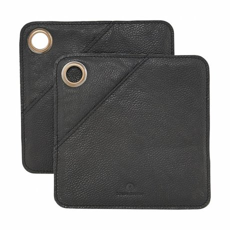 Housedoctor Potholders 2 pieces black leather 20.5x20.5cm