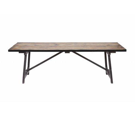BePureHome Table à manger Artisanat en bois brun noir 76x190x90cm