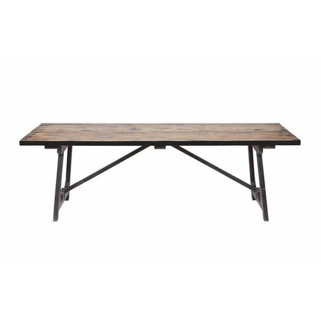 BePureHome Dining table Craft brown black wood 76x190x90cm