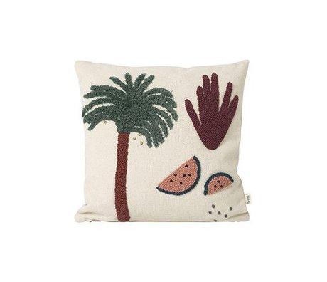 Ferm Living Coussin toile de coton crème Palm 40x40cm