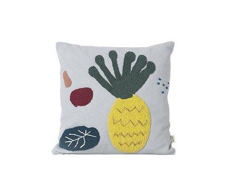 Ferm Living Pillow pineapple light blue cotton canvas 40x40cm