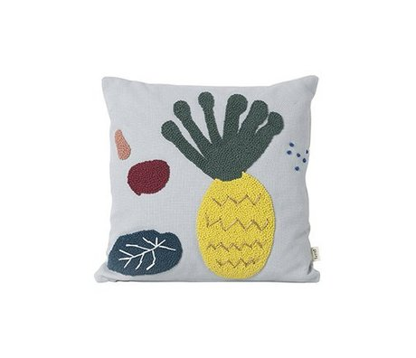 Ferm Living Zierkissen Ananas hellblau Baumwolle Canvas 40x40cm