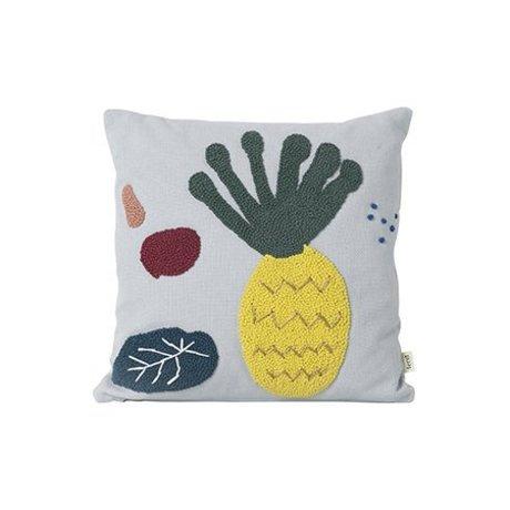 Ferm Living Pude ananas lyseblå bomuld lærred 40x40cm