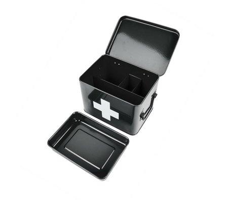 pt, Boîte de rangement pour médicaments black metal 21,5x15,5x16cm