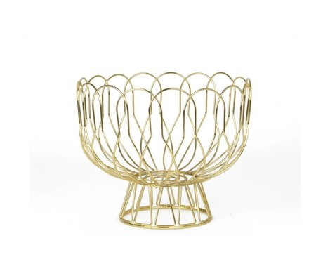 pt, Fruit bowl of gold metal Ø26x28cm