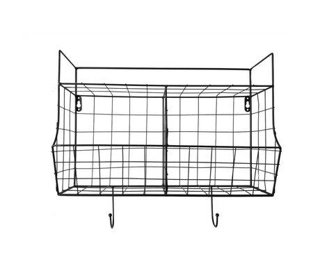 pt, Étagère de cuisine en métal noir 24x15,5x46,5cm