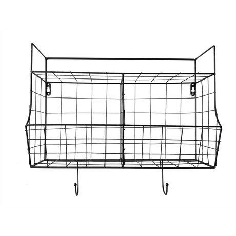 pt, Mensola da cucina in metallo nero 24x15,5x46,5cm