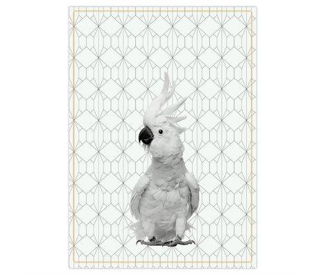 pt, Te håndklæde Kakadu sort hvid bomuld 50x70cm