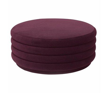 Ferm Living Puff burgundy rød fløjl Ø90x40cm
