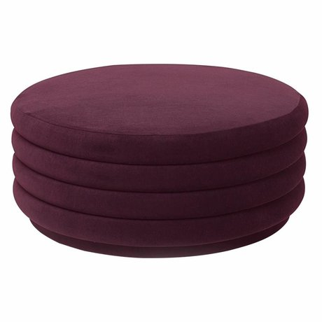 Ferm Living Puff burgundy red velvet Ø90x40cm