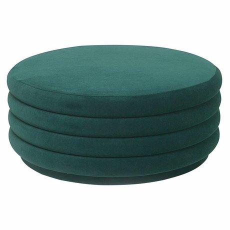 Ferm Living Puff green velvet Ø90x40cm