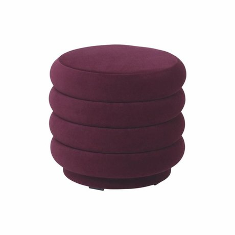 Ferm Living Puff burgundy red velvet Ø42x40cm