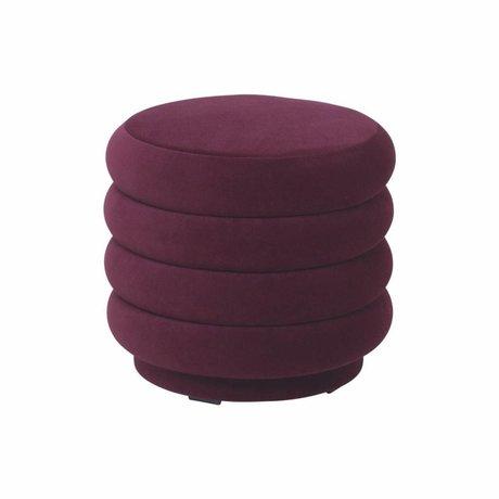 Ferm Living Puff burgundy rød fløjl Ø42x40cm