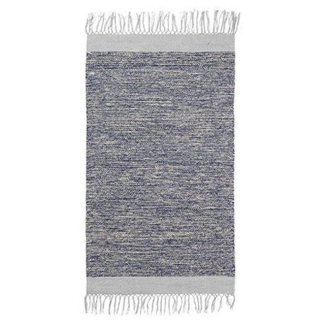 Ferm Living Tappeto melange cotone blu 60x100cm