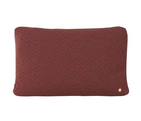 Ferm Living Dekorativ pude Quilt Rust burgunder rød uld 60x40cm
