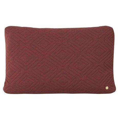 Ferm Living Oreiller décoratif Quilt Rust bordeaux rouge laine 60x40cm