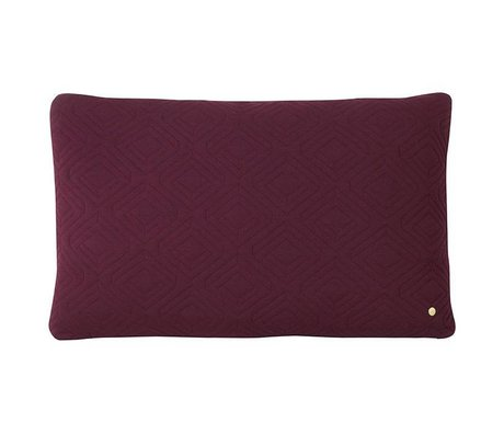 Ferm Living Cushion Quilt Rust violet wool 80x50cm